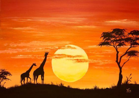 Glow in the Dark African art Sunset Africa giraffe lion silhouette orange sun Safari silhouette of trees black shadows yellow clouds