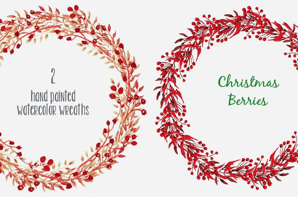 Christmas red berry wreaths: Pair II by Lolly's Lane Shoppe on Creative Market