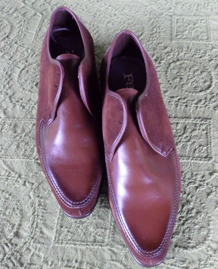 RETRO POINTED SHOES 4 Men/Brown Leather n Suede/Vintage