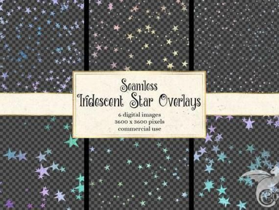 Seamless Iridescent Star Overlays Starry Night Star Patterns In Png Format With Transparent Backgrounds Instant Download C Star Overlays Overlays Star Patterns