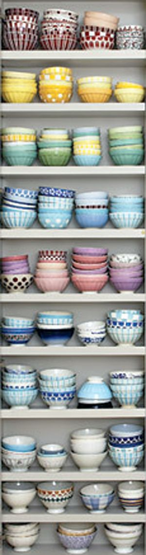 I love this colorful collection of bowls! cafe au lait