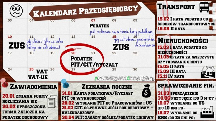 INFOGRAFIKA: Kalendarz Przedsiębiorcy
