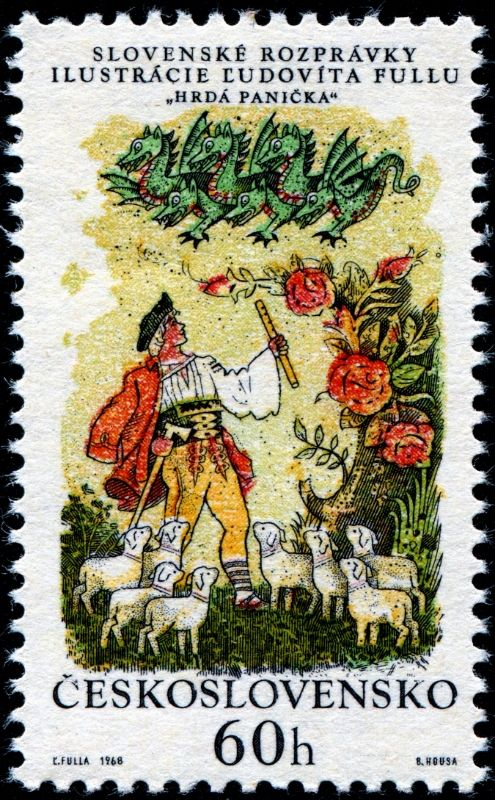 """The Proud Lady,"" engraved by Bedrich Housa, image of the six stamps in a set illustrating Slovak folk tales, designed by Slovak painter and graphic artist L'udovνt Fulla (1902-1980). Stamp from Czechoslovakia circa 1968"