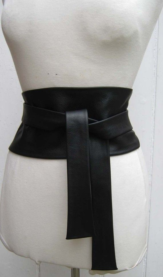 Black luxury leather wide obi cinch belt by elizabethkelly on Etsy, $80.00