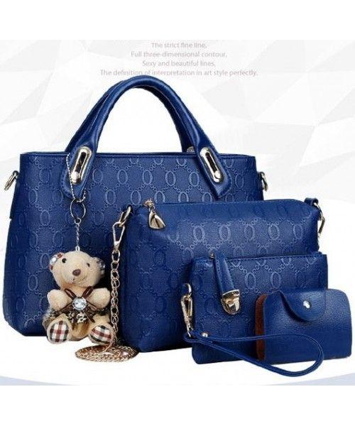 Tas Import  (4 in1)  + Bear BT4699-BLUE Tas Korea Harga Murah  Merek Berkualitas IMPORT 100% DI JAMIN !   BAG ( 4 in1) + Bear Material : PU leather Length:    33 cm Height:    23 cm Depth:      13 cm Bag Mouth:  Zipper    Long Strap:   yes 1 kg             ..