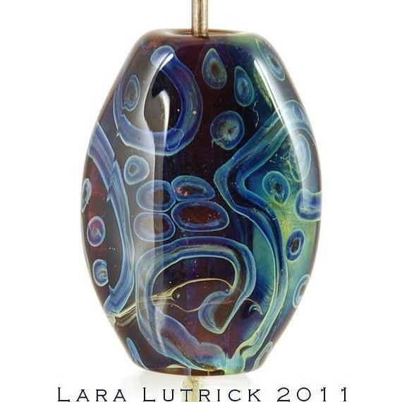 items similar to purple handmade lampwork glass bead by lara batik look on etsy