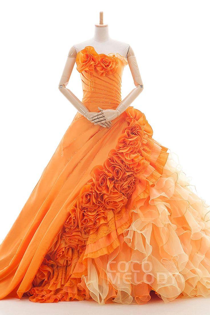 ファヴラス A-ライン ビスチェ ナチュラル カテドラルトレーン オーガンジー オレンジ スリーブレース シャーリング編み上げ式 ウエディングドレス ビーズ フラワー JS0085
