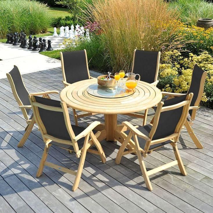 Alexander Rose Roble Garden 6 Charcoal Sling Chair Round Table Set In 2020 Wooden Garden Table Wooden Garden Chairs Garden Dining Set