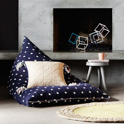 Navy Dot Beanbag with Blush Blanket Stitch Embroidery