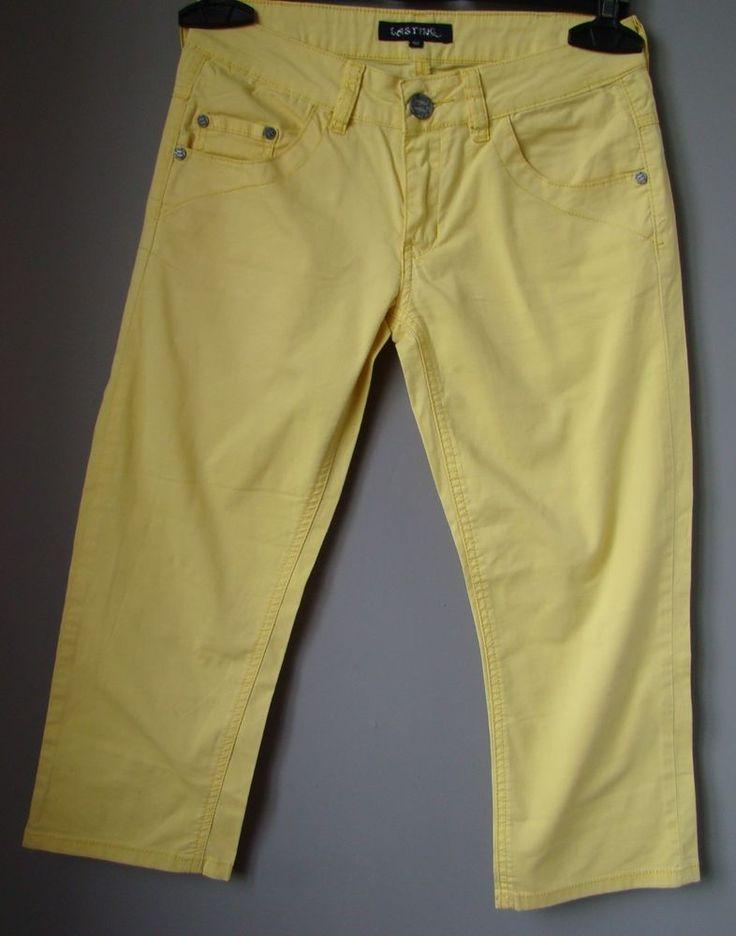 """PANTALONI pinocchietto GIALLO S 40 """"LASTING"""" capri 8 estivo leggero donna Yellow"""