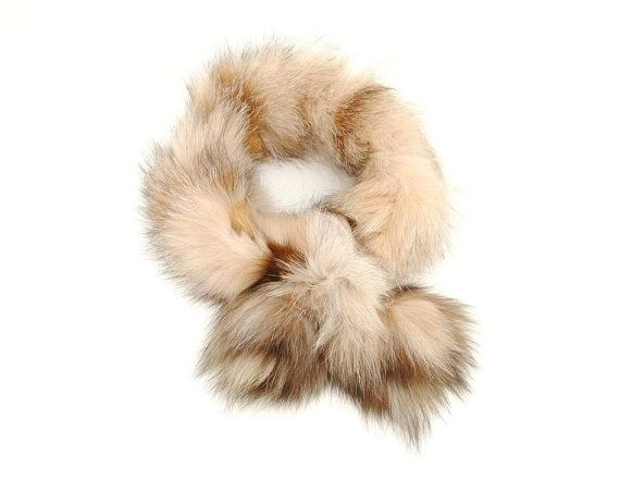 Mix Caramel Infinity Fur Cowl Scarf & Shimmer Sweater, Real fox Fur scarf, Fur Collar, Fur Stole