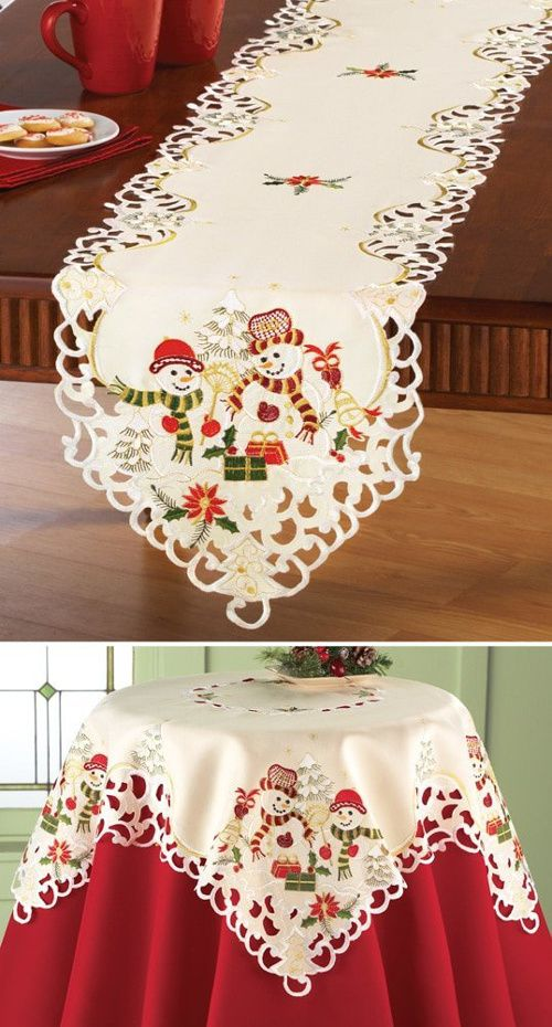 Embroidered Snowman Couple Christmas Table Linens, Small Square Table ...