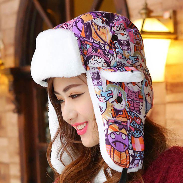 Russian Winter Hats Keep Warm Knitting Hat Fashion Fur Earmuff Thick Snow Cap Outdoor Ski Cap Casual Women's Bomber Hats Skull