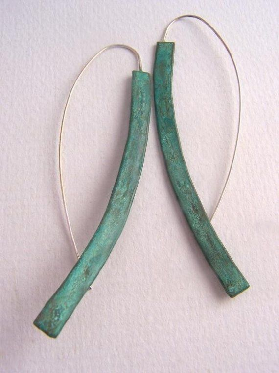 Long Minimalist Earrings with Verdigris by CynthiaDelGiudice