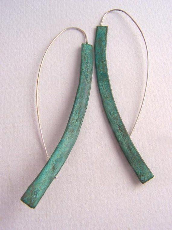 Long Minimalist Earrings with Verdigris by CynthiaDelGiudice