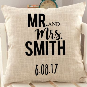 "This Mr & Mrs Personalized pillow is a perfect gift for the new couple's wedding shower, housewarming, or anniversary. The pillow cover is 18""x18"". This listing includes the PILLOW COVER ONLY! A Perfe"