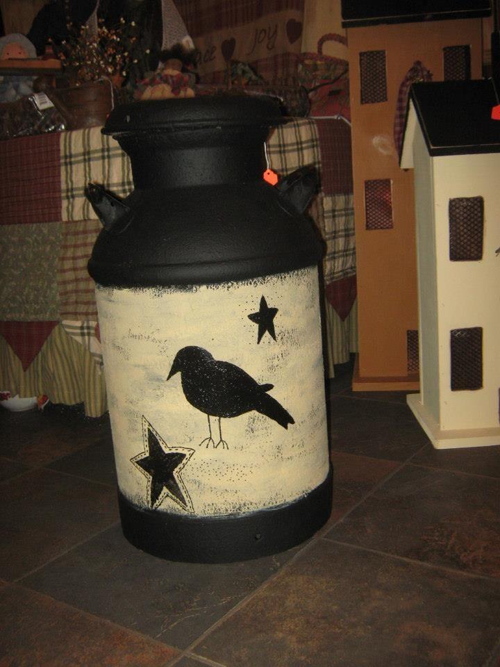 Primitive Crow Handpainted Milk Can -