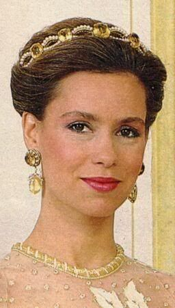 Unusual Colour: The Citrine and Pearl Bandeau Tiara worn by Grand Duchess Maria Teresa of Luxembourg