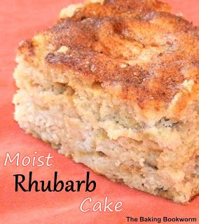 The Baking Bookworm: MOIST RHUBARB CAKE - A deliciously moist cake filled with rhubarb and topped with a cinnamon-nutmeg mixture. Great for a snack or dessert!