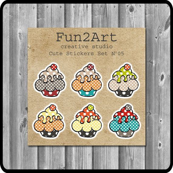 Cute Stickers/ Planner Stickers/ Cupcakes  Set No 5. by Fun2Art
