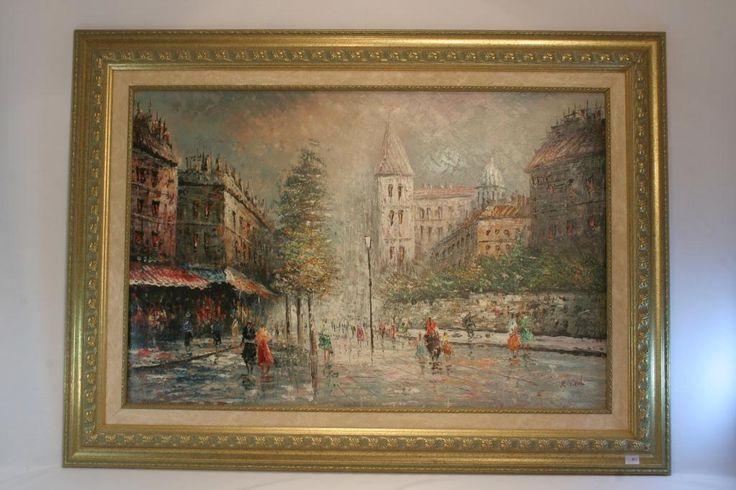 """""""Париж"""", Монмартр, картина написана в стиле импрессионизм, передает особую романтику старого города, принадлежащая кисти художника К. Нэйла (K. Nail), справа внизу подпись автора."""