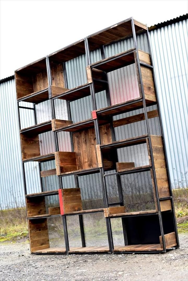 Wooden pallet and steel shelves