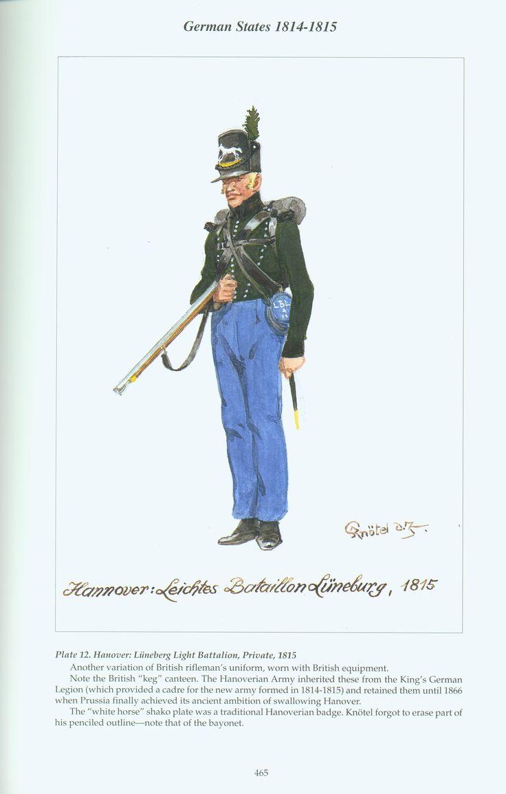 German States: Plate 12. Hanover: Lüneberg Light Battalion, Private, 1815