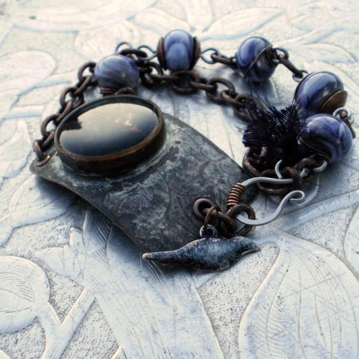 Blackbird - Etched and Patinaed Copper, Recycled Sari Silk and Glass Bracelet - Jewelry creation by Molly Alexander