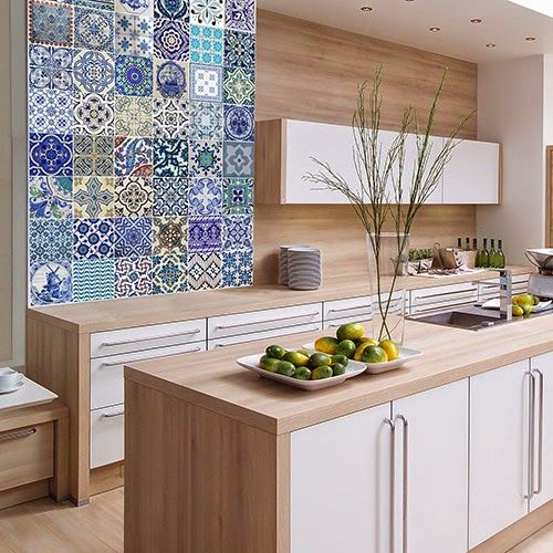 17 best images about cocinas on pinterest black tiles - Mural de azulejos ...