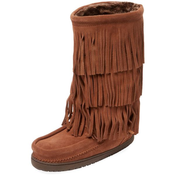 Manitobah Mukluks Women's Buffalo Dancer Mukluk Boot - Rust/Copper,... ($110) ❤ liked on Polyvore featuring shoes, boots, faux fur lining boots, mukluk shoes, fringe shoes, manitobah mukluk boots and fringe boots