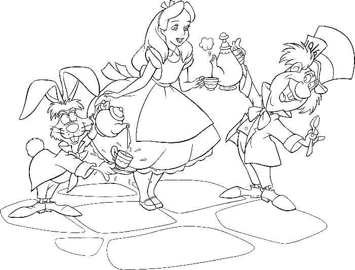 Dibujos De Alicia En El Pais De Las Maravillas Para Colorear E
