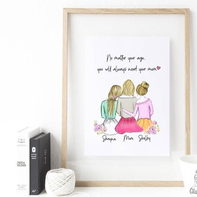 Personalized Daughters And Mom Wall Art Diy Gifts For Mom Personalized Best Friend Gifts Girlfriend Gifts