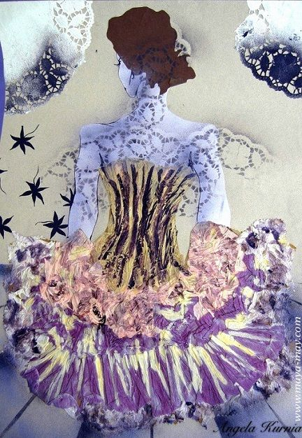 """Purple Ballerina"" by Angela Kurnia. A2size. Illustration, stencil & collage.  #art #fashionillustration #freelanceillustrator #design #fullskirt #pose #ballerina #purple"