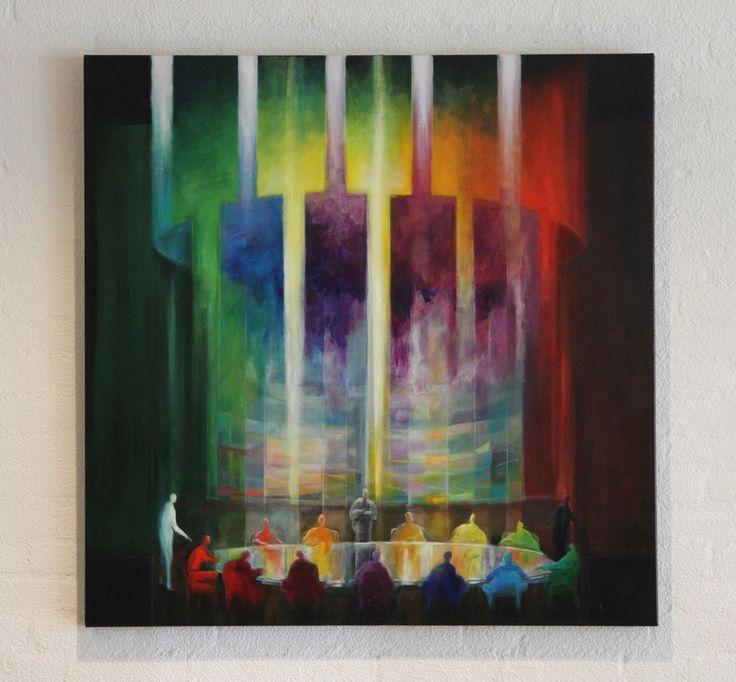 Kleurgesprek & Confrontatie. Acryl op doek 100x100cm. Verkocht. Purmerend