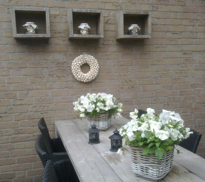 scaffolding planks wall cubes, with a 'heel' out pot full of shells (found at sea), shells wreath underneath.