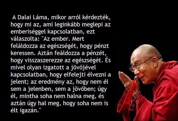 """A Dalai Láma, mikor arról kérdezték, hogy mi az, ami leginkább meglepi az emberiséggel kapcsolatban, ezt válaszolta: """"Az ember. Mert feláldozza az egészségét, hogy pénzt keressen. Aztán feláldozza a pénzét, hogy visszaszerezze az egészségét. És mivel olyan izgatott a jövőjével kapcsolatban, hogy elfelejti élvezni a jelent, az eredmény az, hogy nem él sem a jelenben, sem a jövőben. Úgy él, mintha soha nem halna meg, és úgy hal meg, hogy soha nem is élt igazán."""""""