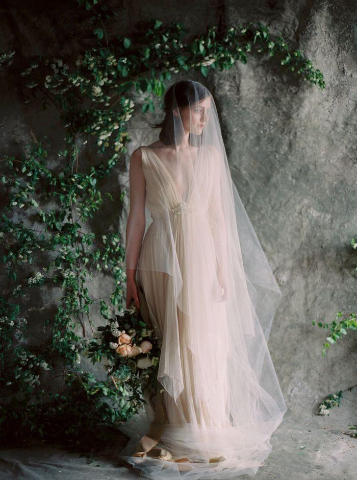Botanical Wedding Flower Inspiration via oncewed.com #wedding #bride #romantic #veil #blush #elegant #flowers #installation
