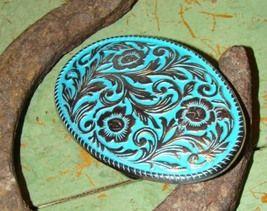 Turquoise Enamel Floral Design  Belt Buckle