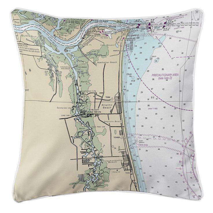 FL: Atlantic Beach, FL Nautical Chart Pillow