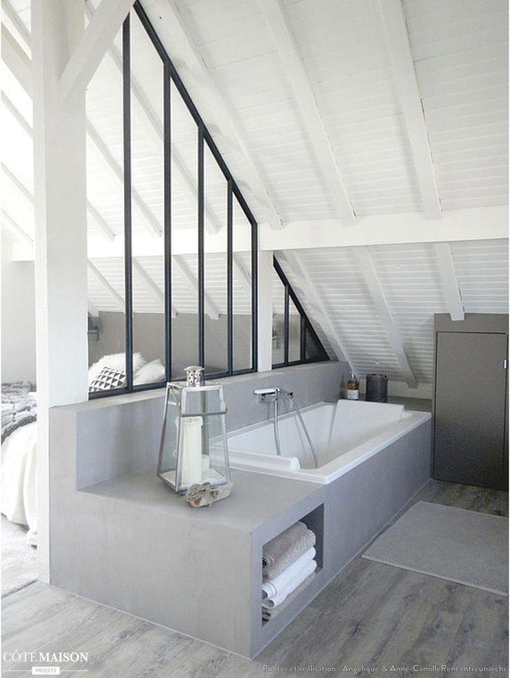 Suite parentale sous combles, séparée par une légère verrière en fer forgé http://www.edifit.fr #SuiteParentale #SuiteParentaleCombles