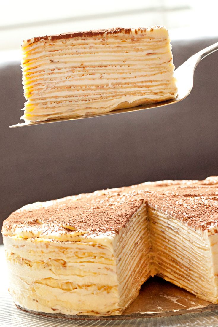 Cake doesn't have to be traditional. This fancy dessert has flaky pastry layers hidden between smooth tiramisu. What's not to love?