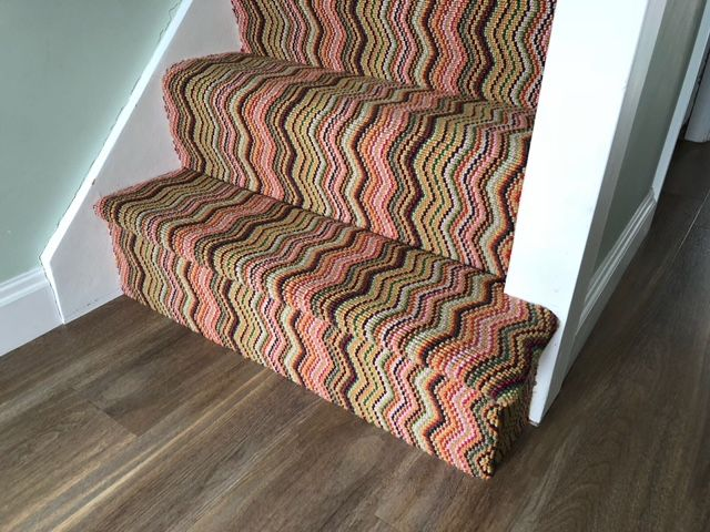 Deco Zigzag Carpet Installation Tufted Carpet Staircase Carpet | Zig Zag Carpet On Stairs | American Style | Asymmetric Stair | Before And After | Navy Pattern | Grey