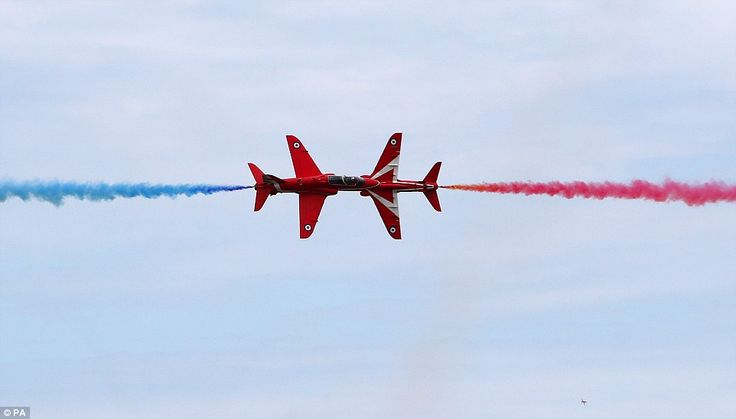 The Red Arrows came perilously close as they darted through the skies in Cleethorpes, Linc...