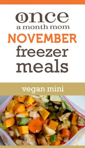 Vegan meals for your freezer. Easy to do in one afternoon - 5 recipes, 10 meals. Recipe cards, grocery list, instructions, labels included.