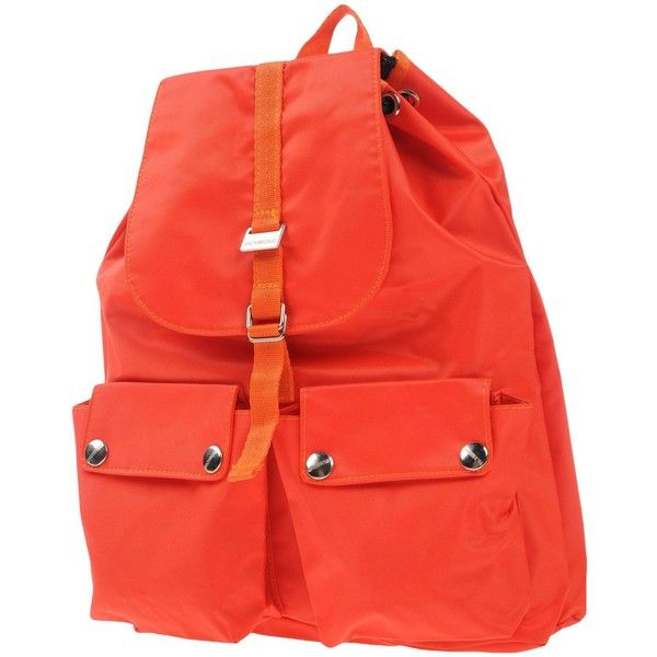 Richmond Denim Backpacks & Bum Bags ($240) ❤ liked on Polyvore featuring bags, backpacks, orange, waist fanny pack, orange backpack, logo bags, red bags and red fanny pack