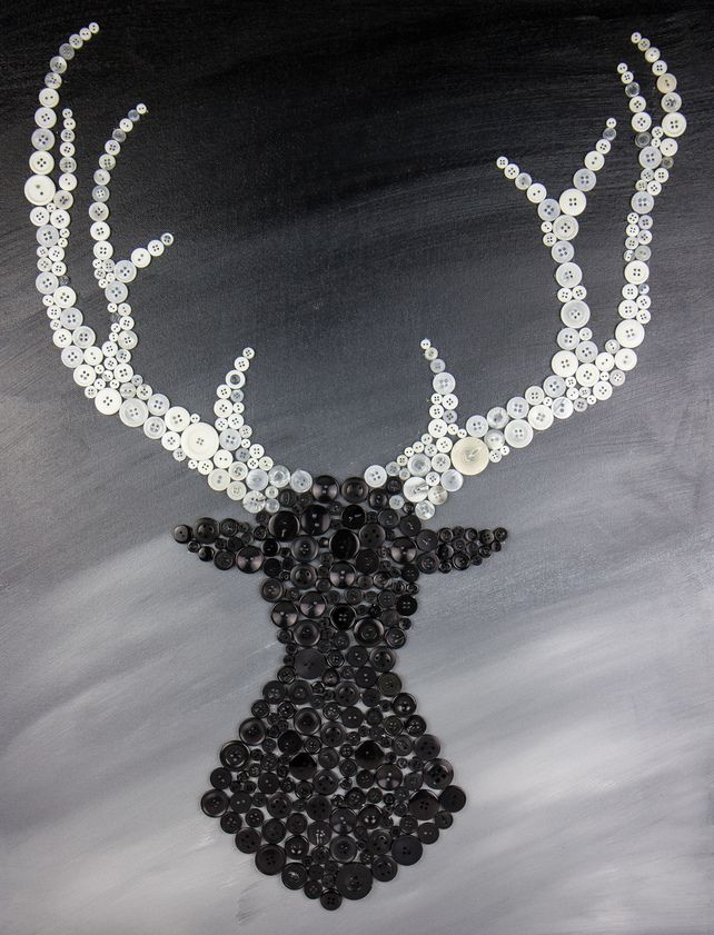 Black & White Stags Head Button Canvas £100.00