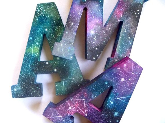 HandPainted Wooden Spacey Monograms by anavicky on Etsy, $22.00