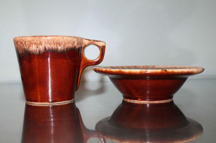 Vintage Hull Dripware coffee mug and cereal bowl brown tea cup breakfast set