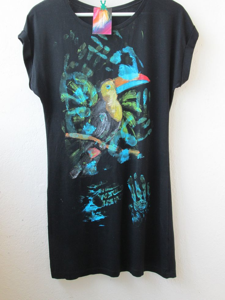 Exotic bird painted on t-shirt