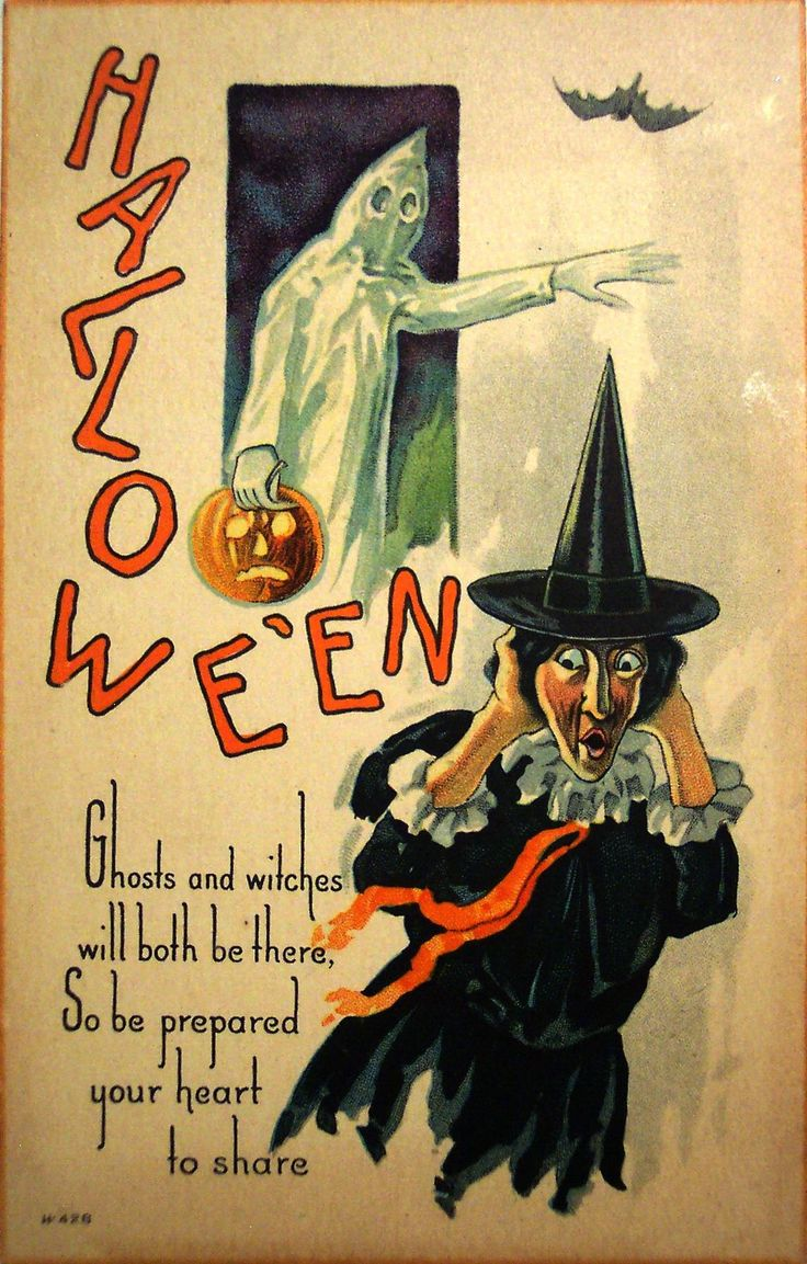 Vintage Embossed Nash Halloween Postcard Witch Ghost With JOL Pumpkin Bat